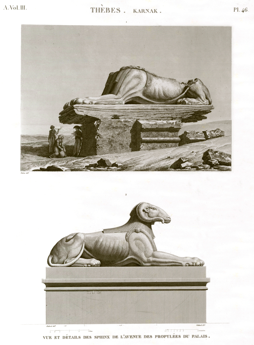 Pl. 46 - View and details of the Sphinxes on the Avenue of the propylaea of the palace