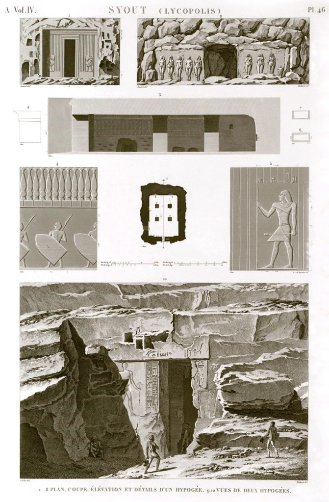 Pl. 46 - 1-8. Plan, section, elevation and details of a hypogeum 9.10. Views of two hypogeums