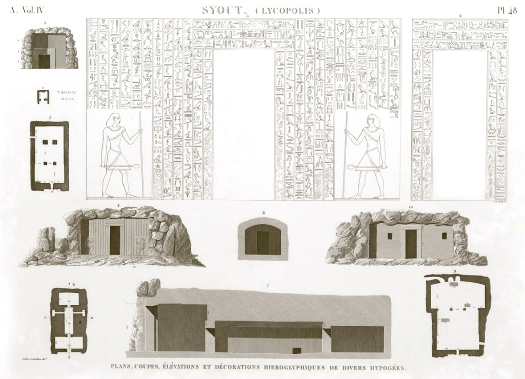 Pl.48 - Plans, sections, elevations and hieroglyphic decorations of various hypogeums