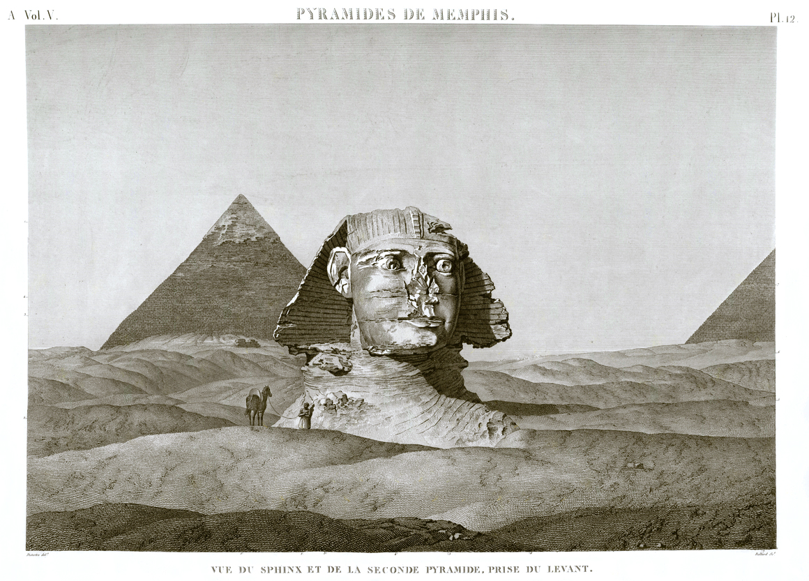 Giza Pyramid Pl.12 - View of the Sphinx and the second pyramid, taken from the east