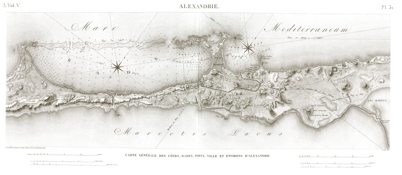 Pl.31 - General map of the coasts, harbors, ports, city and surroundings of Alexandria