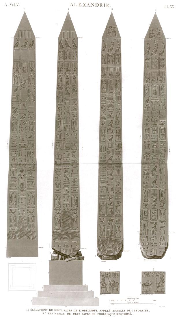 Pl.33 - 1.2. Elevations of two faces of the obelisk called Cleopatra's Needle 3-5. Elevations of two faces of the overturned obelisk