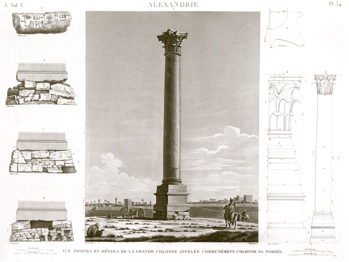 Pl. 34 - Profile and detail view of the large column commonly known as the Pompey Pillar