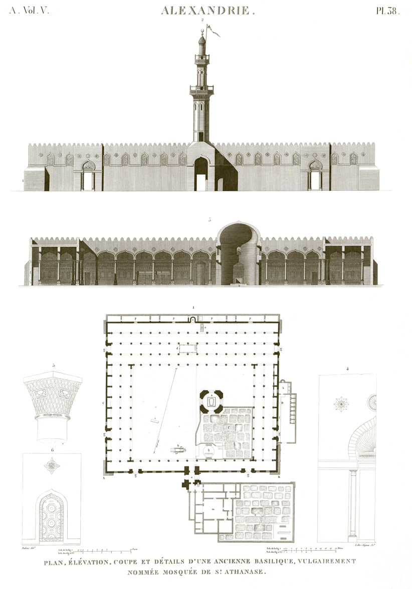 Pl.38 - Plan, elevation, section and details of an old basilica, popularly called Mosque of St. Athanasius