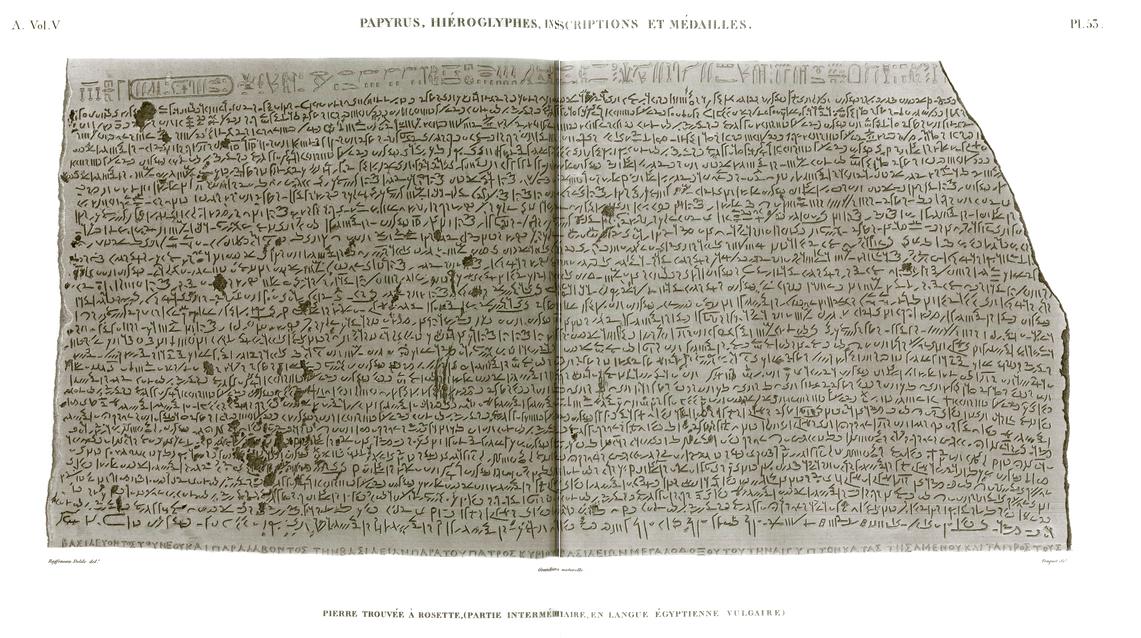 Pl. 53 - Stone found in Rosetta, (intermediate part, in common Egyptian language)