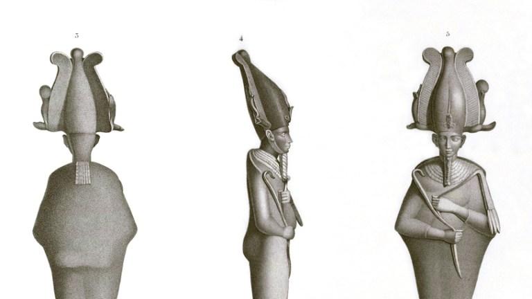 Pl. 63 - 1-5. Bronze figures 6. Gray basalt bust