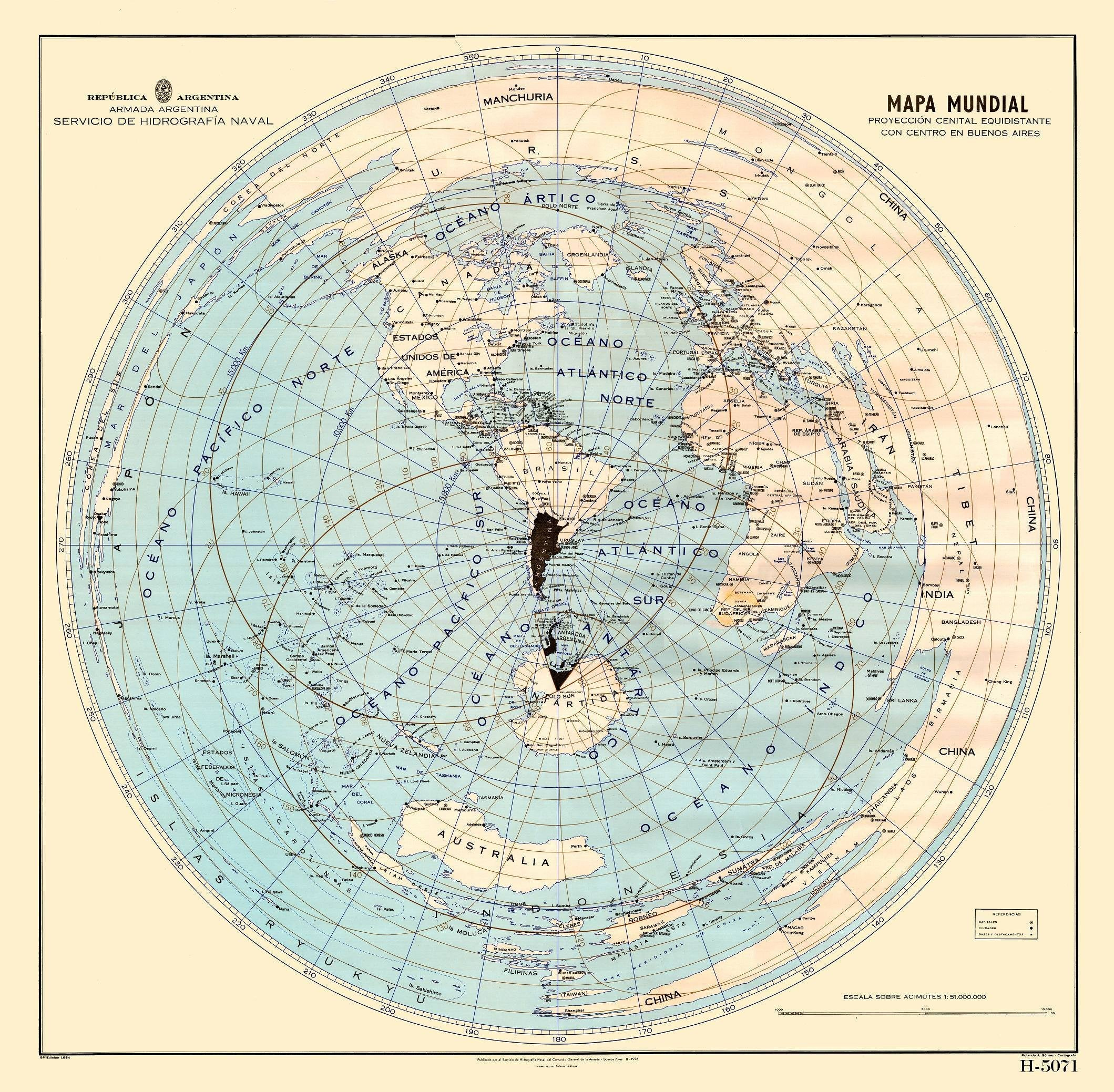 Mapa mundial Buenos Aires World Map azimuthal equidistant projection
