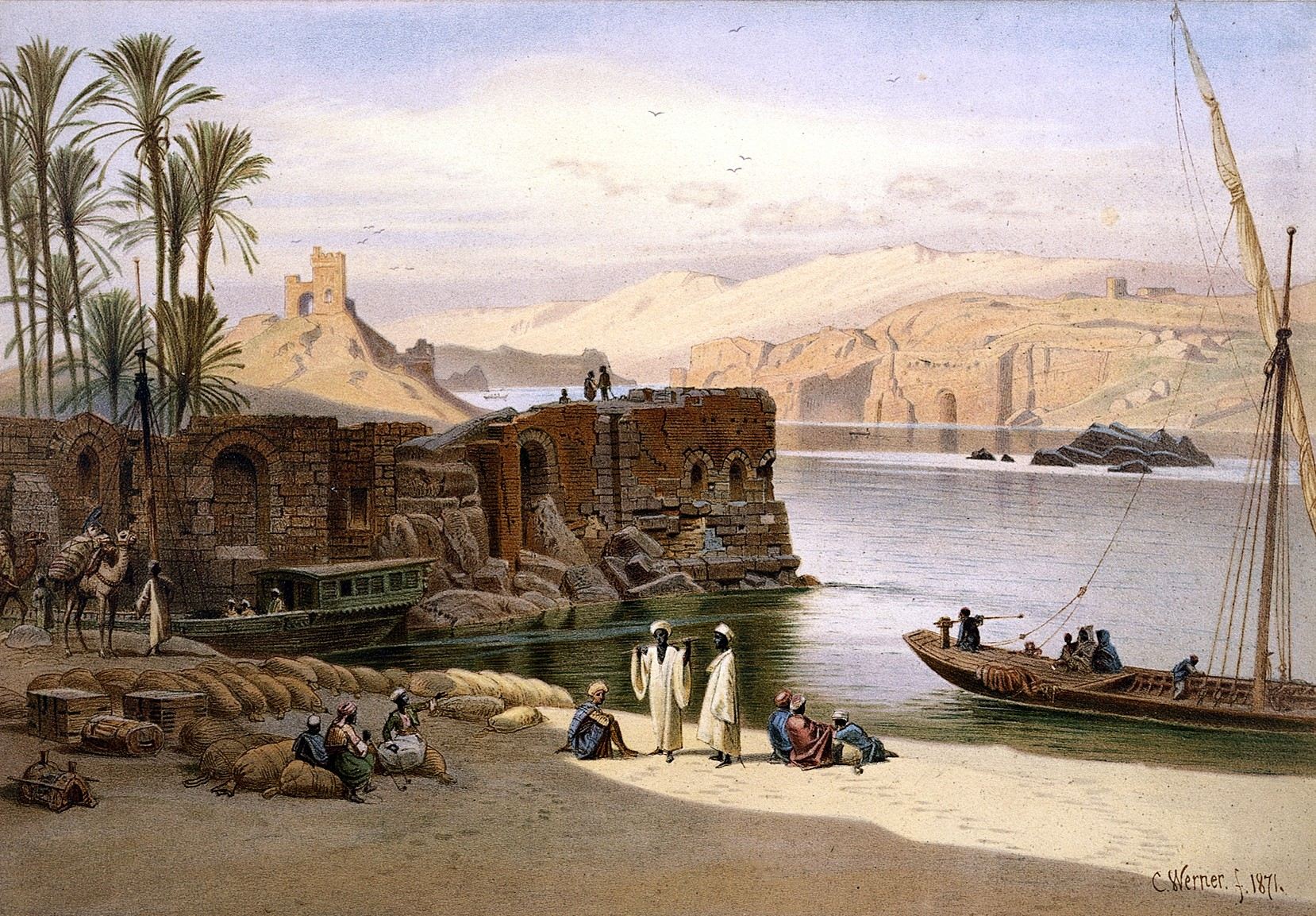 Egypt: the Nile at Aswān - Carl Werner, 1871