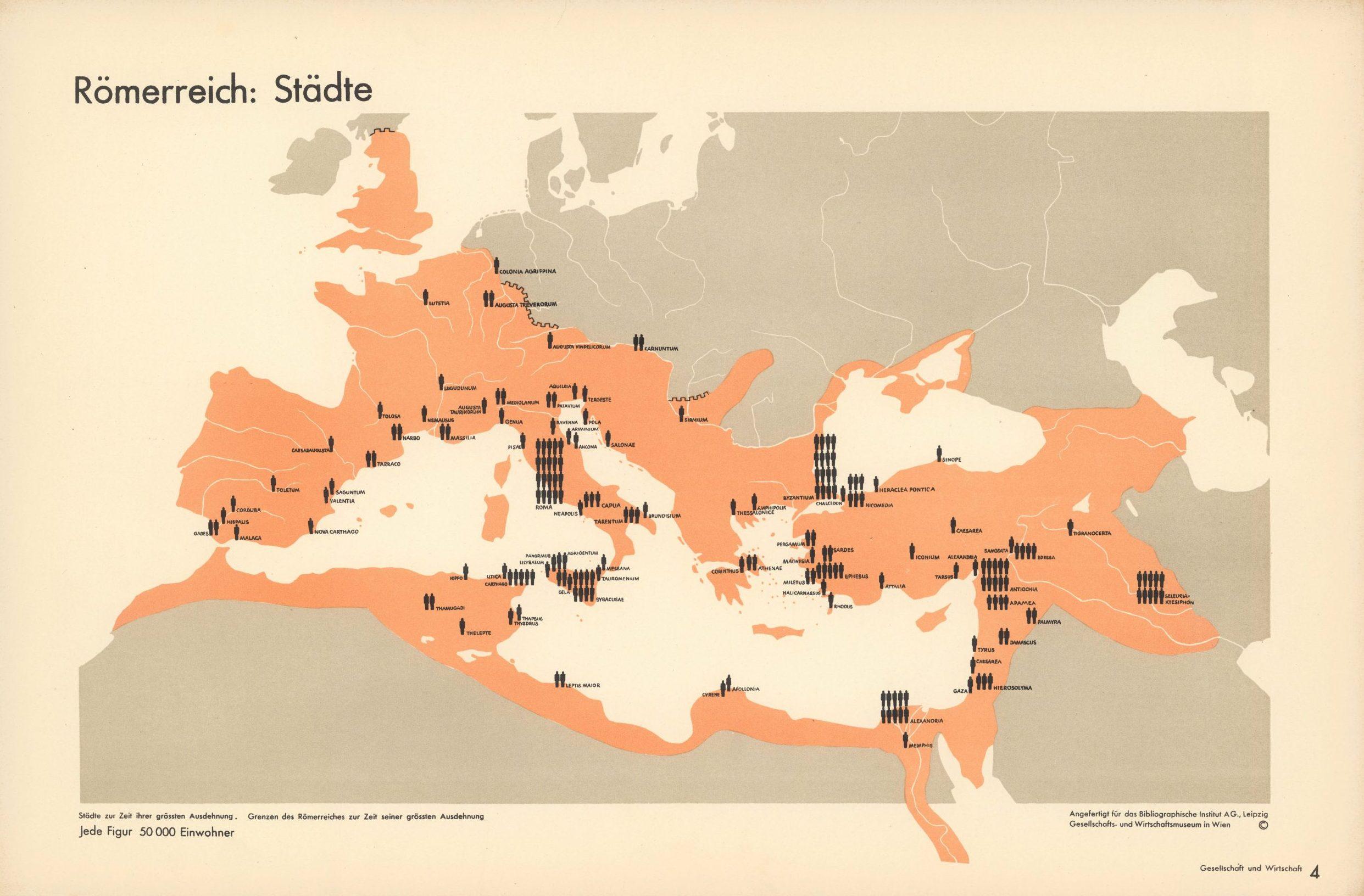 Römerreich: Städte. (Roman Empire: cities) Isotype Otto Neurath