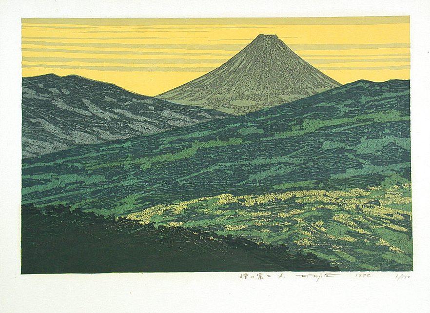 Monochrome Woodcut Kitaoka Fumio Mount Fuji