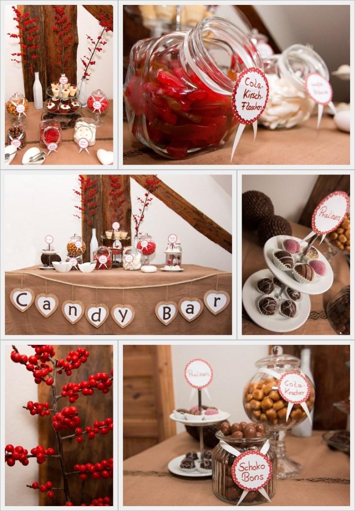 Die Sensevent Candy Bar - hier ebenfalls in winterlichem Rot, Braun und Weiß dekoriert.