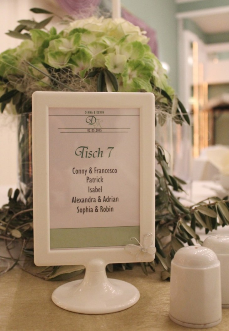 18 Sitzordnung Hochzeit grün weiß creme