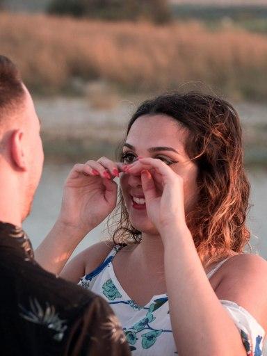 Glückliche Verlobung Heiratsantrag Kreta Planung Vorbereitung Service Dekoration