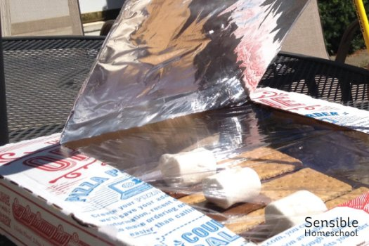homemade foil pizza box solar oven with s'mores
