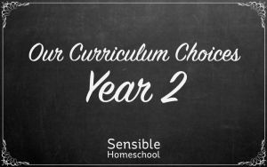 sensible homeschool our curriculum choices year two on chalkboard background