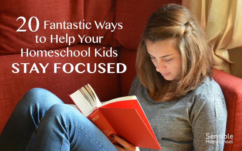 20 Fantastic Ways to Help Your Homeschool Kids Stay Focused teen girl reading on red sofa
