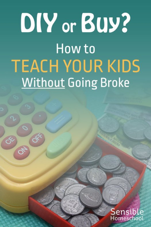 How to teach your kids without going broke - image of toy cash register and play money