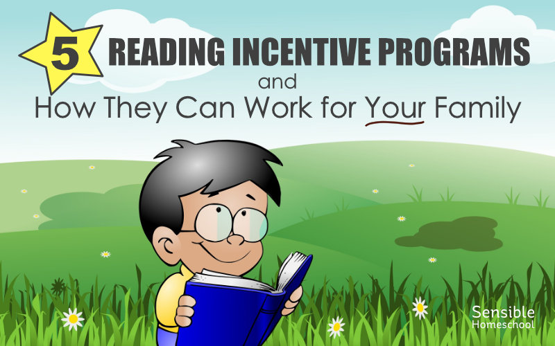 5 Reading Incentive Programs and How They Can Work for Your Family on cartoon background with boy reading book