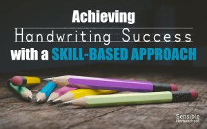 Achieving Handwriting Success with a Skill-Based Approach on dark background with pencils on table