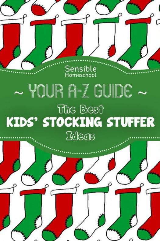 Your A-Z Guide: The Best Kids' Stocking Stuffer Ideas title on green banner and cartoon stocking background