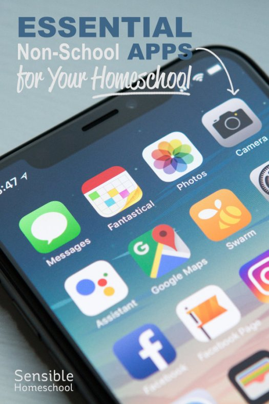 Essential Non-School Apps for Your Homeschool title with iPhone and apps close-up