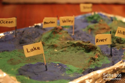 blue and green salt dough map of landforms with labels