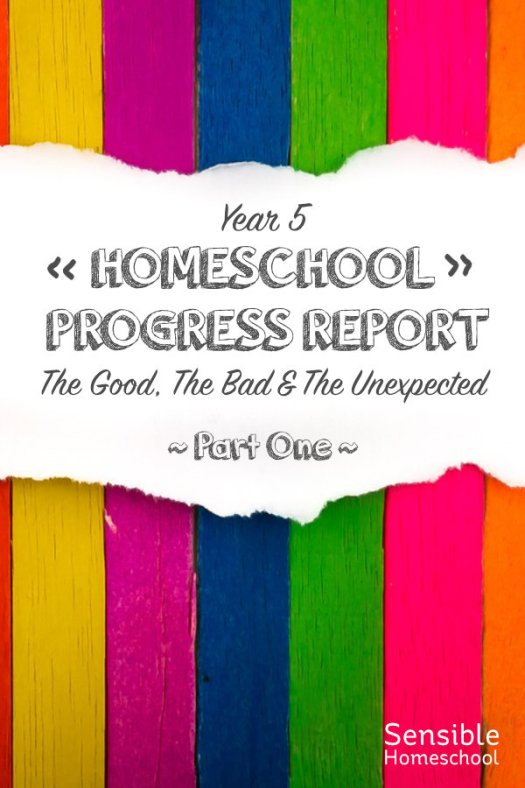 Year 5 Homeschool Progress Report The Good, The Bad & The Unexpected - Part One title on colored stripe background