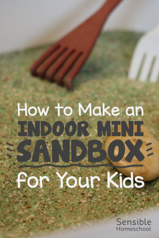 How to Make and Indoor Mini Sandbox for Your Kids title on sandbox background