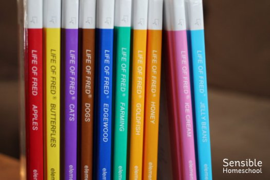 10 book spines - Life of Fred math curriculum series for elementary students