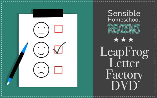 Sensible Homeschool Reviews Leapfrog Letter Factory DVD title with positive review checklist illustration