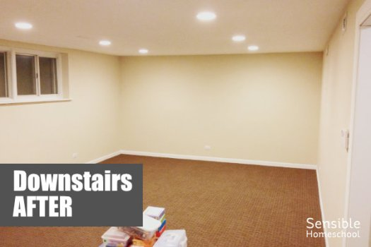 Downstairs After renovation with new brown carpeting, new cream-colored walls and recessed lighting