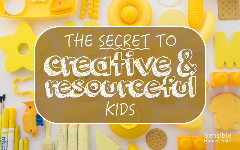 The Secret to Creative & Resourceful Kids title on yellow toys background