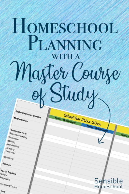 Homeschool Planning with a Master Course of Study spreadsheet