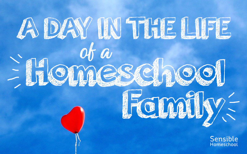 A Day in the Life of a Homeschool Family title on blue sky background with red heart balloon