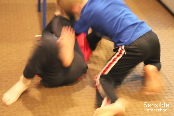 Brothers wrestling