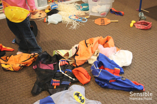 preschool costumes all over floor