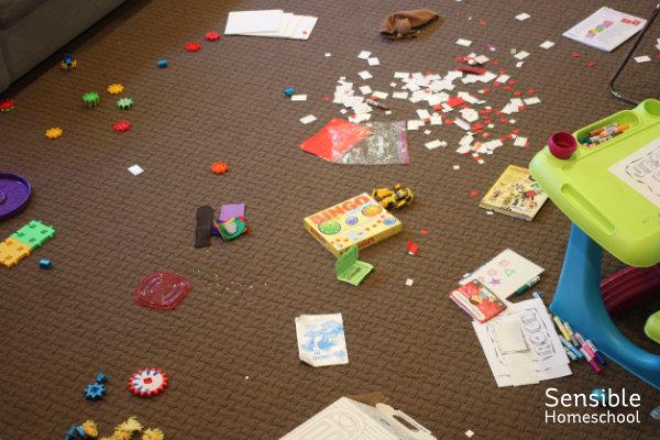 Messy homeschool room