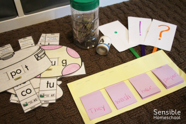 homemade DIY homeschool language arts games and manipulative