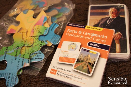 History and geography flashcards and puzzles
