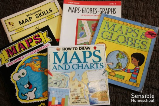 Homeschool books on maps, charts, globes and graphs