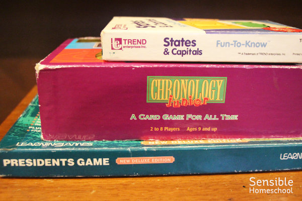 History and geography games including States & Capitals, Chronology Junior and the Presidents Game
