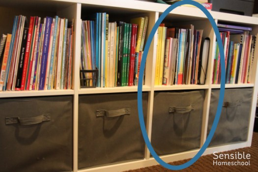 Homeschool curriculum book shelf with language arts curricula area circled