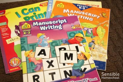 PreK and Kindergarten handwriting workbooks for homeschool