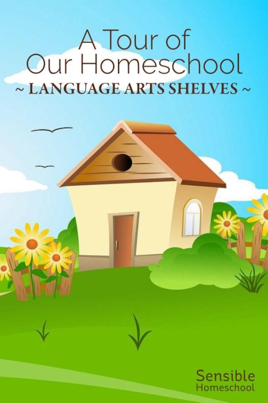 A Tour of Our Homeschool - Language Arts Shelves