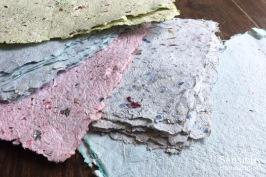 Homemade paper sheets in assorted colors