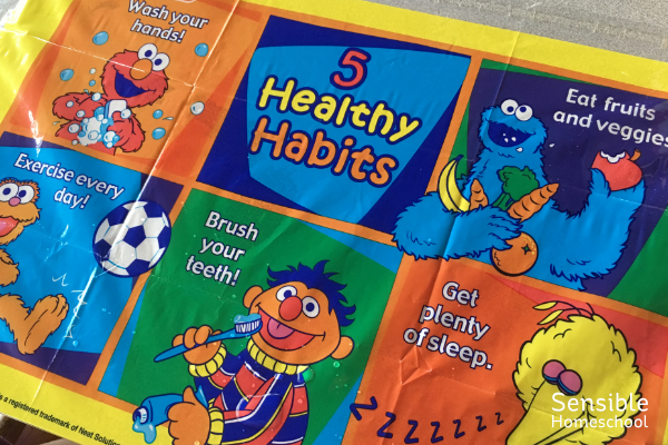 Sesame Street 5 Healthy Habits toddler placemat