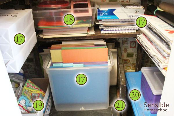 Homeschool supply closet with paper, spirals, crayons, stickers.