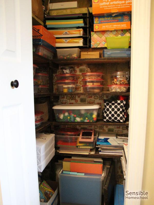 Homeschool art supply closet