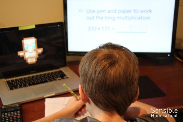 6th grade homeschooler doing CTC Math on computer