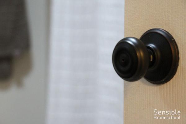 Bronze bathroom doorknob